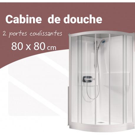 cabine douche 1 4 rond 80 x 0 cm 2 portes coulissantes