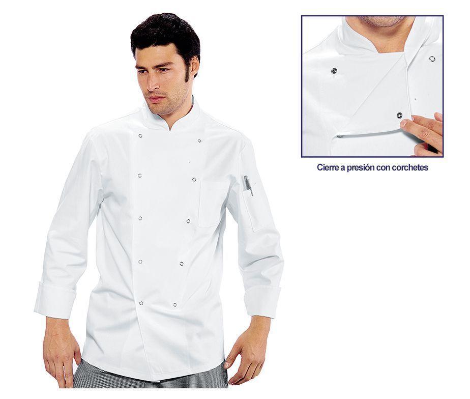 Chaqueta de cocina en blanco con cierre corchetes isacco - Ropa de cocina ...