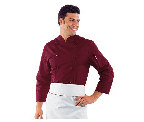 Casaca de cocinero burdeos clásica hombre