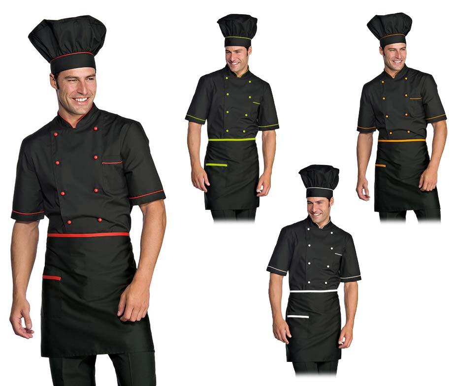 Chaqueta cocinero negra manga corta con detalles a color - Uniformes de cocina ...
