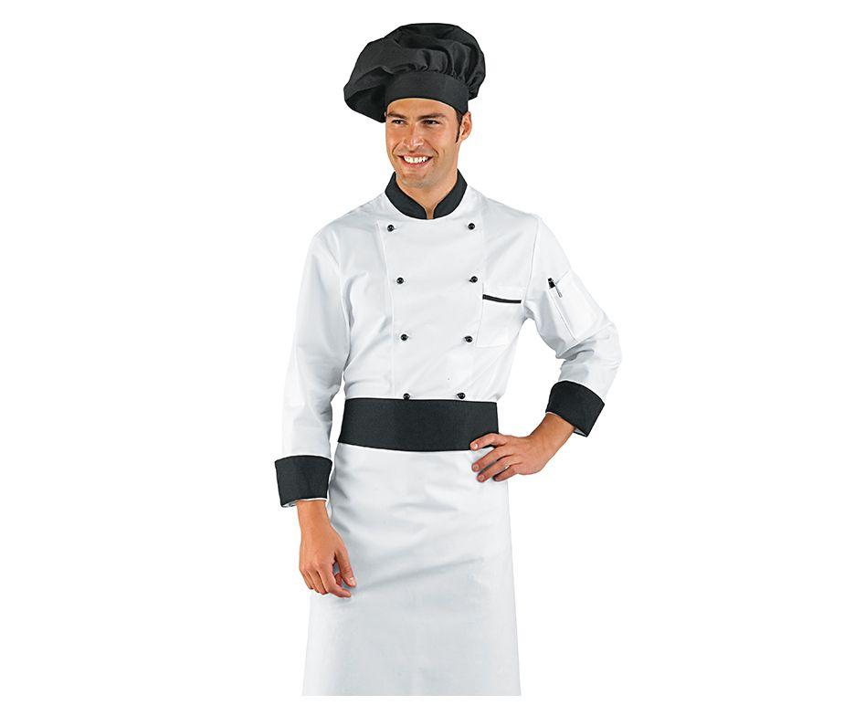 Delantal franc s cocinero blanco con franja negra for Cocinero en frances