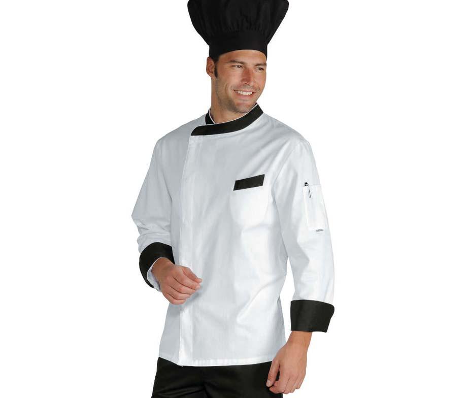 Chaqueta cocinero con cierre corchetes para hombre venta - Ropa de cocina ...