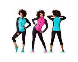 chaqueta deportiva mujer negro rosa fuxia muy comoda manga larga y azul turquesa