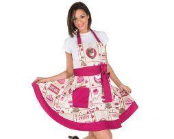 delantal vintage chica rosa pastelería y heladeria