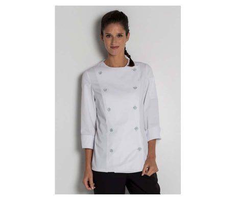 chaqueta cocinera manga tres cuartos blanca