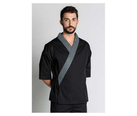 kimono negro uniforme cocinero