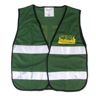 Mayday 10138 C.E.R.T Green Mesh Safety Vest with Reflective Stripes and Logo
