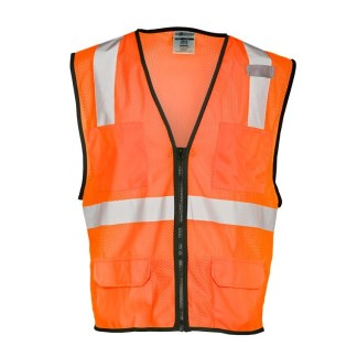 ML Kishigo 1192 6 Pocket Zipper Mesh Orange Vest