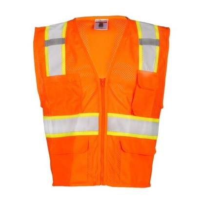 ML Kishigo 1196 Orange Ultra-Cool Mesh Class 2 Safety Vest, 6 Pockets