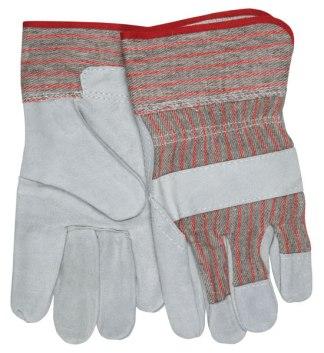 "MCR 1200S  Economy Leather Palm, Striped, Fabric 2 1/2"" Starched Safety Cuff, Dozen"