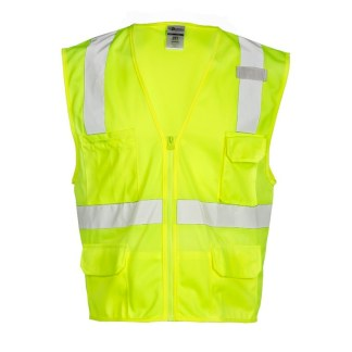 ML Kishigo 1291 6 Pocket Zipper Solid Lime Vest