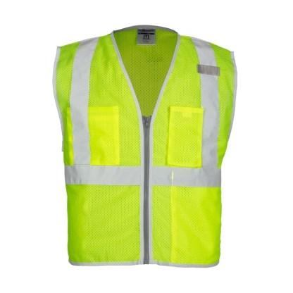 ML Kishigo 1507 Brilliant Series 3 Pocket Zipper Mesh Lime Vest