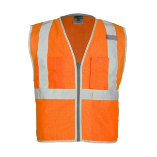 ML Kishigo 1508 Brilliant Series 3 Pocket Zipper Mesh Orange Vest