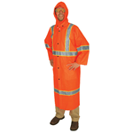 "201CL3 - Luminator, .35mm PVC/Polyester 49"" Coat, Det hood, ANSI Class 3, fluorescent orange with silver stripes"