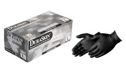 2026BK Black Embossed Diamond Grip Nitrile Gloves
