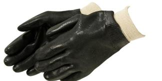 Liberty Gloves I2421 Rough Finish Black PVC Glove with Knit Wrist, Dozen