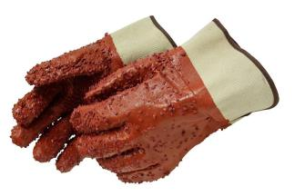 Liberty Gloves 2450 PVC Chips Finish On Red PVC Glove with Band Top, Dozen