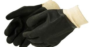 Liberty Gloves 2631 Sandy Finish Black PVC Glove with a Knit Wrist, Dozen