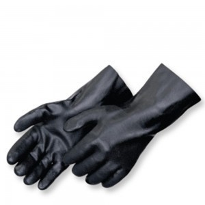 Liberty Gloves 2633 Sandy Finish Black PVC Glove with a 12 inch Gauntlet, Dozen