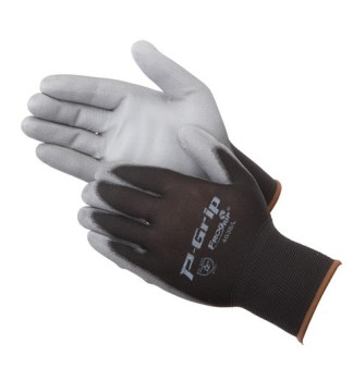P-Grip P4638  Gray Ultra-Thin Polyurethane Coated Palm Glove, Dozen