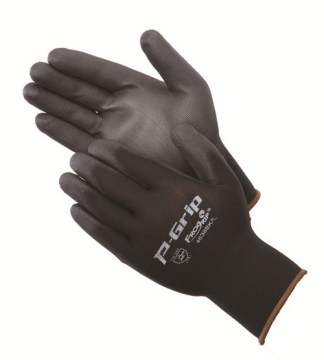 P-Grip P4638BK Ultra-Thin Black Polyurethane Coated Palm Glove, Dozen
