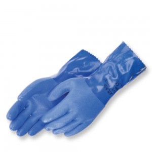 "Liberty Glove Atlas 650 Premium Blue Triple Dipped PVC with 10"" Gauntlet, Dozen"