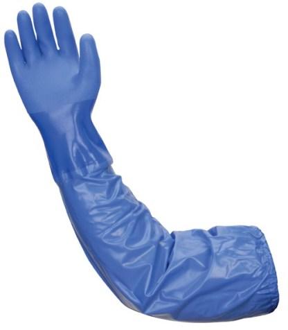 """Liberty Gloves 690 Atlas Blue PVC Glove With A 26"""" Vinyl Sleeve, Dozen"""