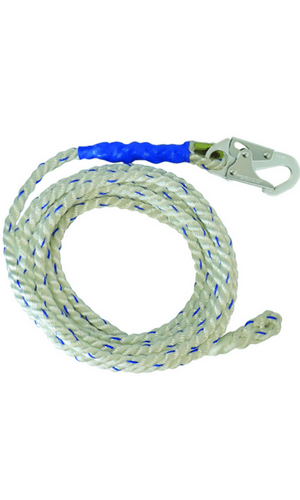 "FallTech 8125 Vertical Lifeline 25' VLL Snap Hook + Back Splice 5/8"" White"