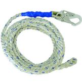 """FallTech 8125 Vertical Lifeline 25' VLL Snap Hook + Back Splice 5/8"""" White"""