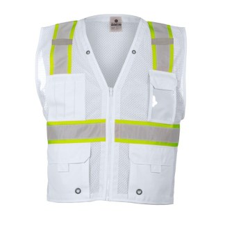 ML Kishigo B105 Enhanced Visibility Multi-Pocket White Mesh Vest