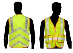 C16852G All Mesh LIME Class 2 Vest, with Silver PVC Stripes & Chevron Stripes on the Back, and Expandable Sides