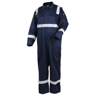 "Revco CF2216-NV 9oz Deluxe FR Cotton Coverall, Navy Blue with 2"" Reflective Tape"