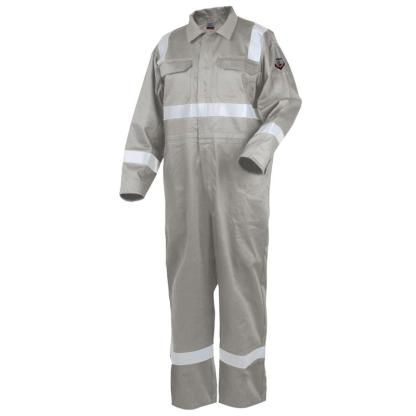 "Revco CF2216-ST 9oz Deluxe FR Cotton Coverall, Stone Khaki with 2"" Reflective Tape"