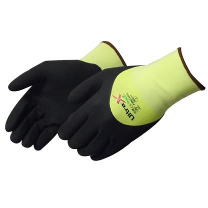 Liberty Gloves F4901HG Ultra-X 18 Gauge Cut Resistant Hi Vis Green Shell with 3/4 Black Micro-Foam Nitrile Coated Palm, Dozen