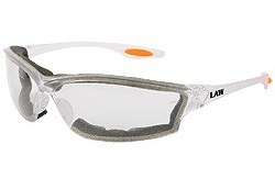 LW310AF clear frame, anti fog clear lens with open cell foam seal, orange temple inserts