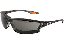 LW312AF smoke frame, anti fog gray lens with open cell foam seal, orange temple inserts