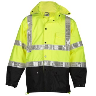ML Kishigo RWJ100 Storm Stopper Pro Lime Rainwear Jacket