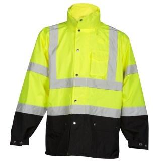 ML Kishigo RWJ102 Lime Storm Cover Rainwear Jacket