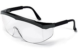 SS110 Stratos Safety Glasses Black Frame - Clear Uncoated Lens