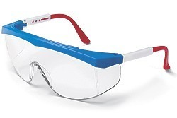 Stratos Safety GlassesRed, White and Blue Frame - Clear Uncoated Lens