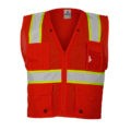 ML KISHIGO B103 ENHANCED VISIBILITY MULTI-POCKET RED MESH VEST