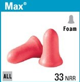 MAX-30 FOAM EAR PLUGS WITH CORDS, 100 CT
