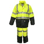 5182S - Luminator .40mm PU/Cotton-Poly Blend Class 3, 2 pc suit, silver reflective, Fluorescent Lime/Black