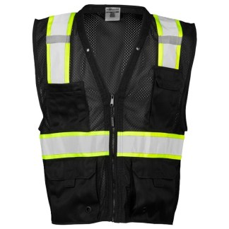 ML KISHIGO B100 ENHANCED VISIBILITY MULTI-POCKET BLACK MESH VEST