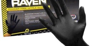 66518 Raven 6 mil Black Nitrile Disposable Gloves, 100ct/box Case/10 box