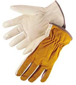 6427R Quality Grain Leather with Bourbon Brown Split Leather  Drivers GLoves, Dozen