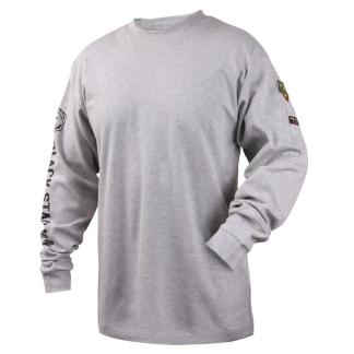 Black Stallion TF2510-GY  7 oz. 100% FR Cotton Knit Long-Sleeve T-Shirt, Gray