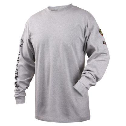Black Stallion TF2510-GY  7 oz. 100% FR Cotton Knit Long-Sleeve T-Shirt, Gray