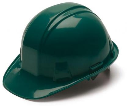Green Hard Hat with 6 Point Racthet Suspension