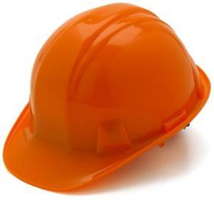 Orange Hard Hat with 6 Point Racthet Suspension